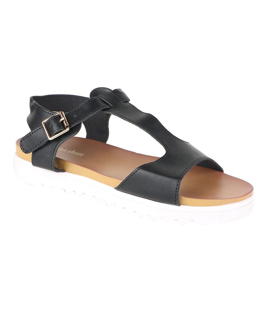 Estatos Faux Leather Open Toe T Strap Buckle Closure White Platform Heel Black Sandals for Women