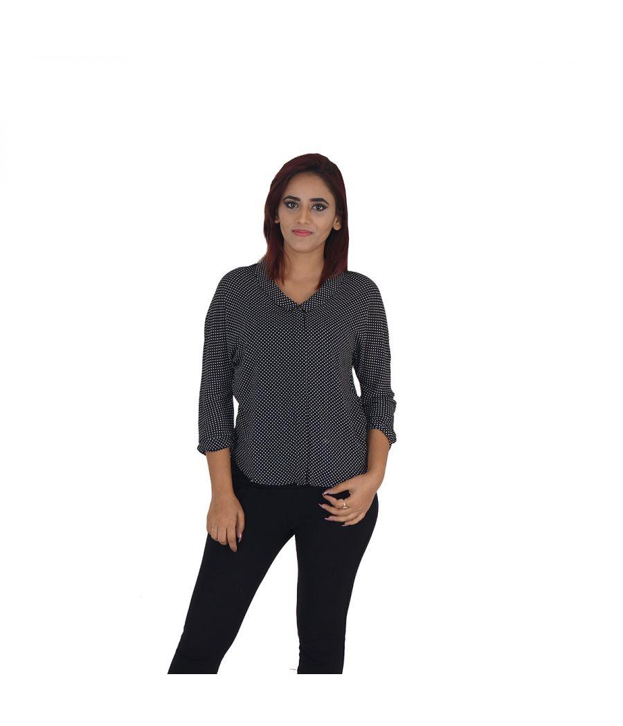 Zara Basic Georgette Polka Dots Black & White Full Sleeved Casual Shirt