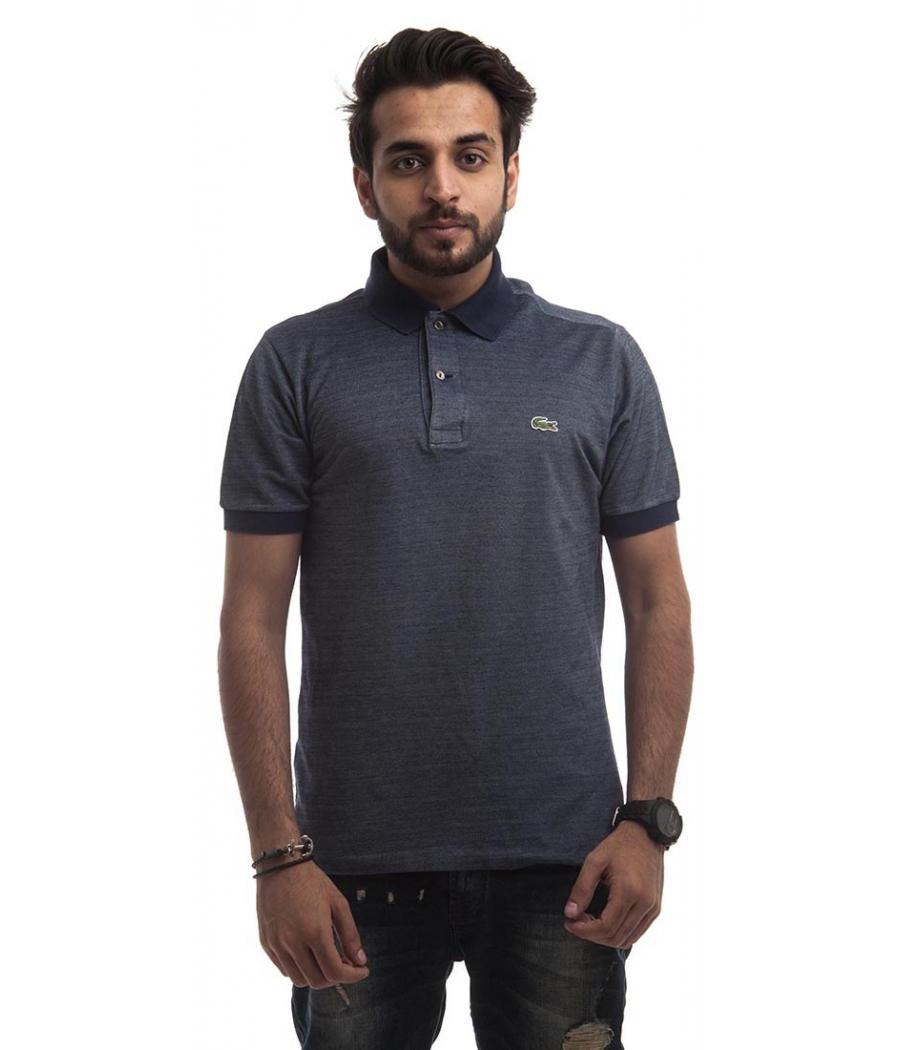 Izod Cotton Blend Plain Navy Blue Half Sleeved Below Waist Casaul T-shirt