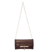 Envie Faux Leather Solid Brown Magnetic Snap Fold Over Sling Bag for Women