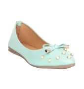MCS Synthetic Leather Sea Green Broad Toe Party Flats for Women