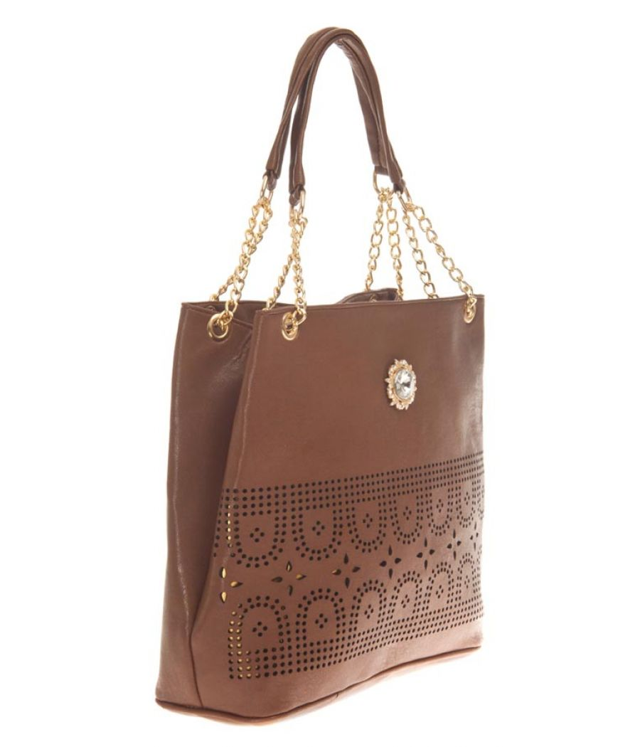 Aliado Faux Leather Solid Coffee Brown Zipper Closure Tote Bag