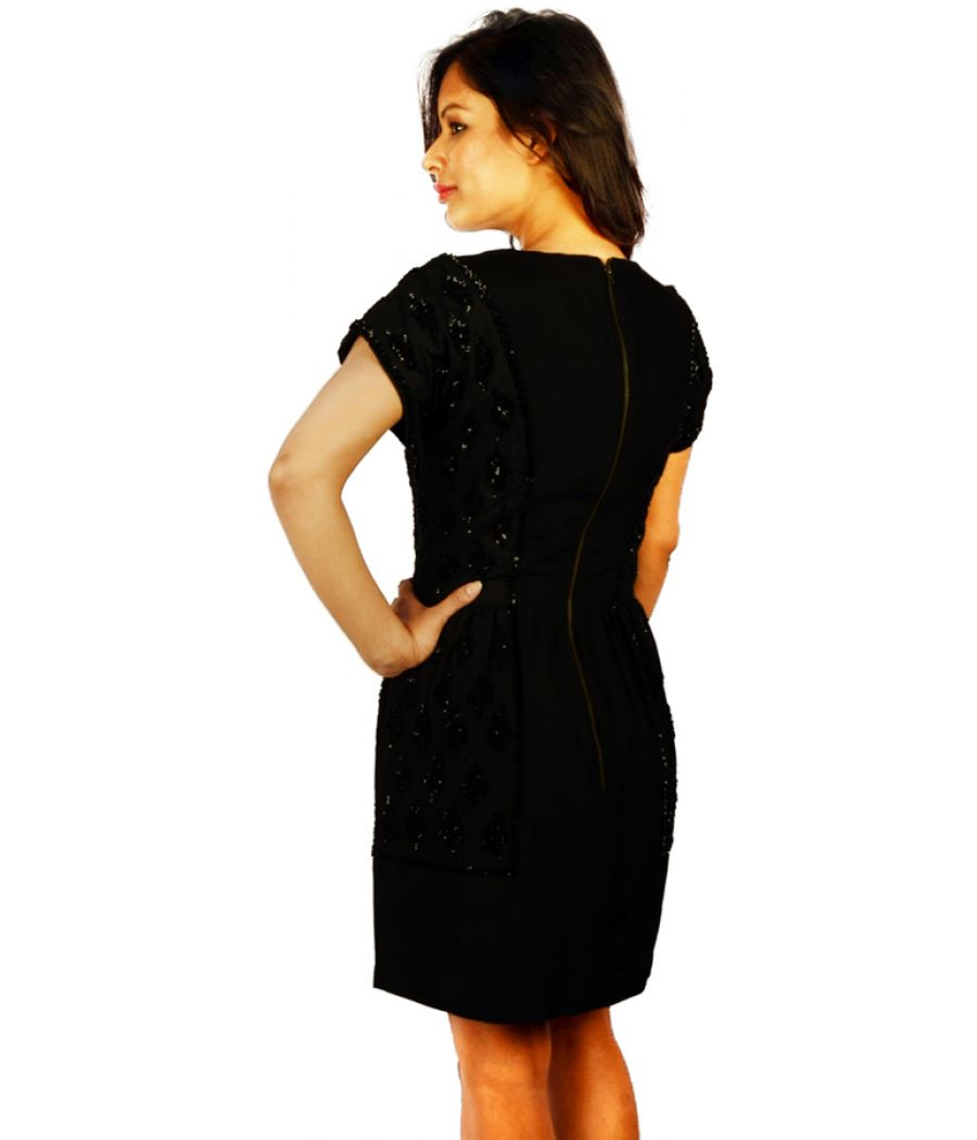 Reiss Black Sequin Shift Dress