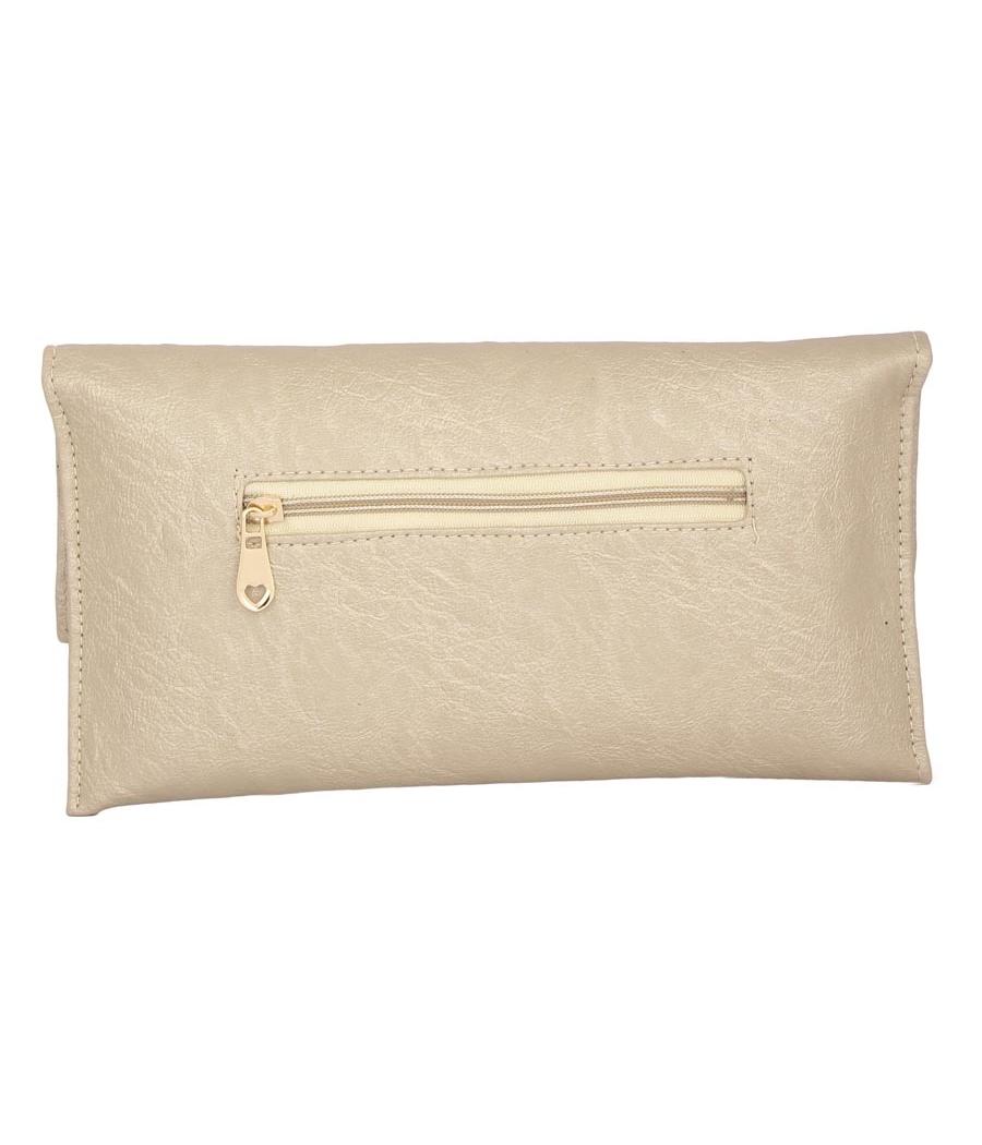 Envie Faux Leather Embellished Beige Magnetic Snap Closure Crossbody Bag