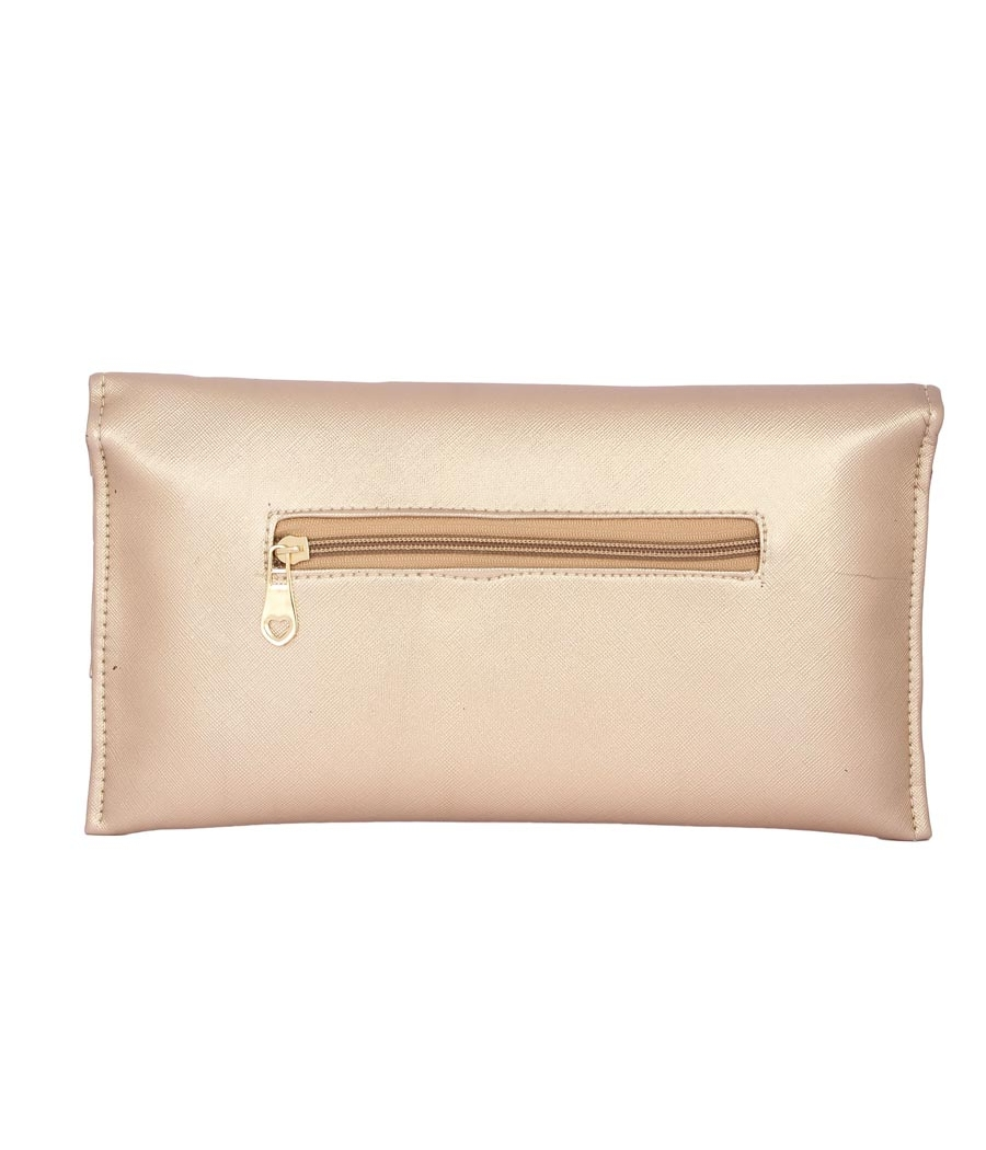 Envie Faux Leather Embellished Peach Magnetic Snap Closure Crossbody Bag