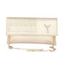 Envie Faux Leather Embellished Golden Magnetic Snap Closure Crossbody Bag