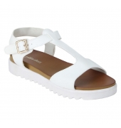 Estatos Faux Leather Open Toe T Strap Buckle Closure  Platform Heel White Sandals for Women