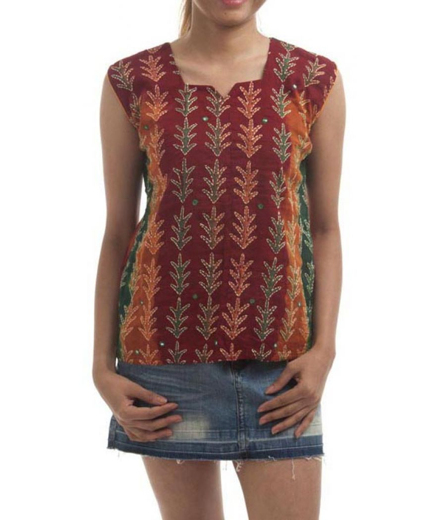 Etashee Certified Cotton Tie N Dye Multi Colour Embellished Top