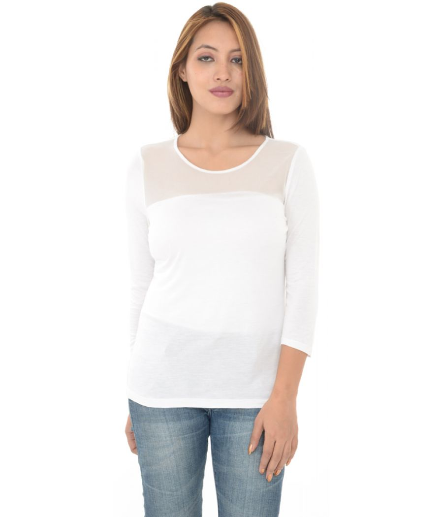 H&M White Top With Front Net Detailing
