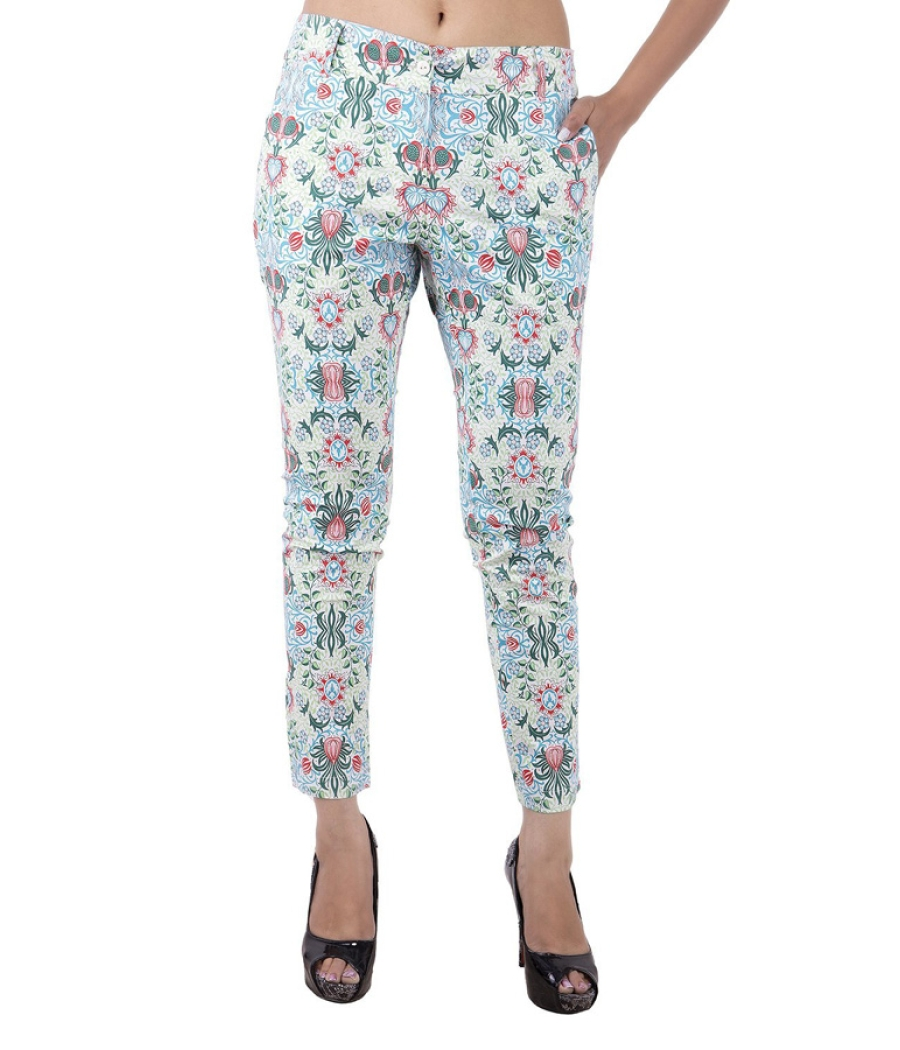 Estance Baroque Print Ankle Length Multi Trousers