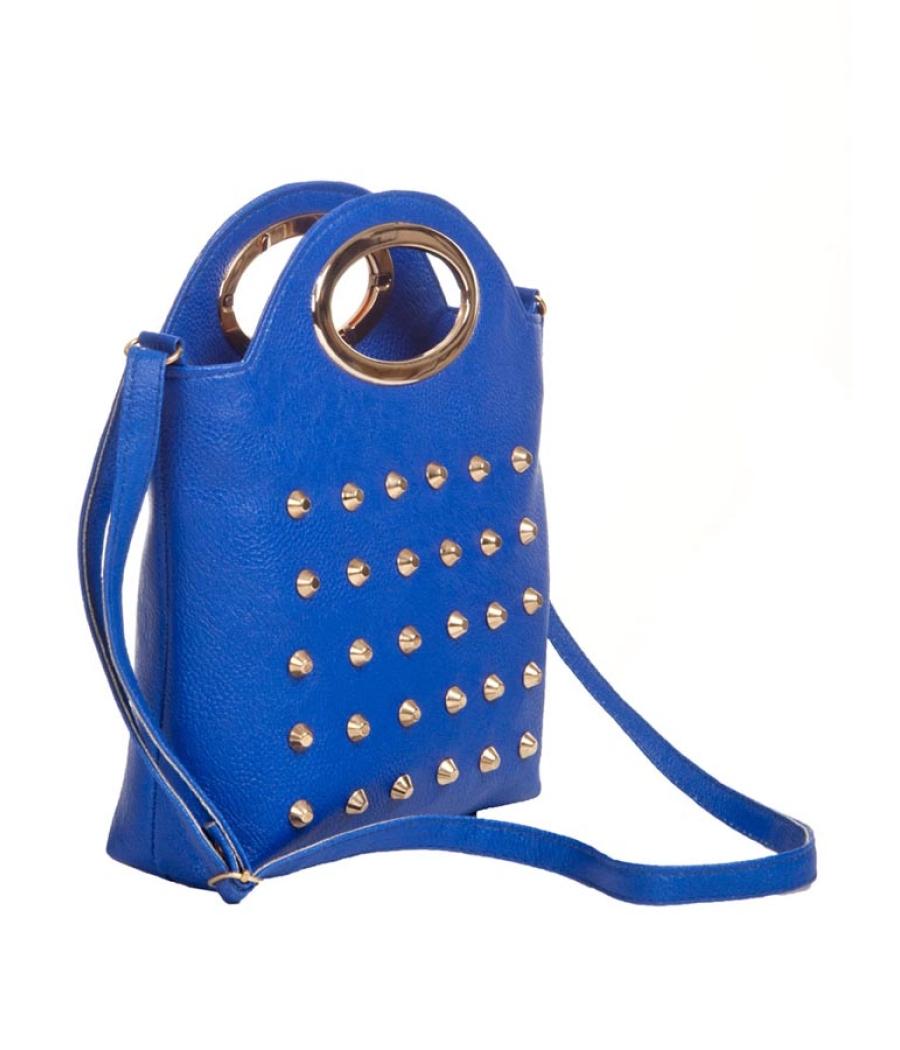 Envie Faux Leather Blue Coloured Zipper Closure Embellished Sling   Bag