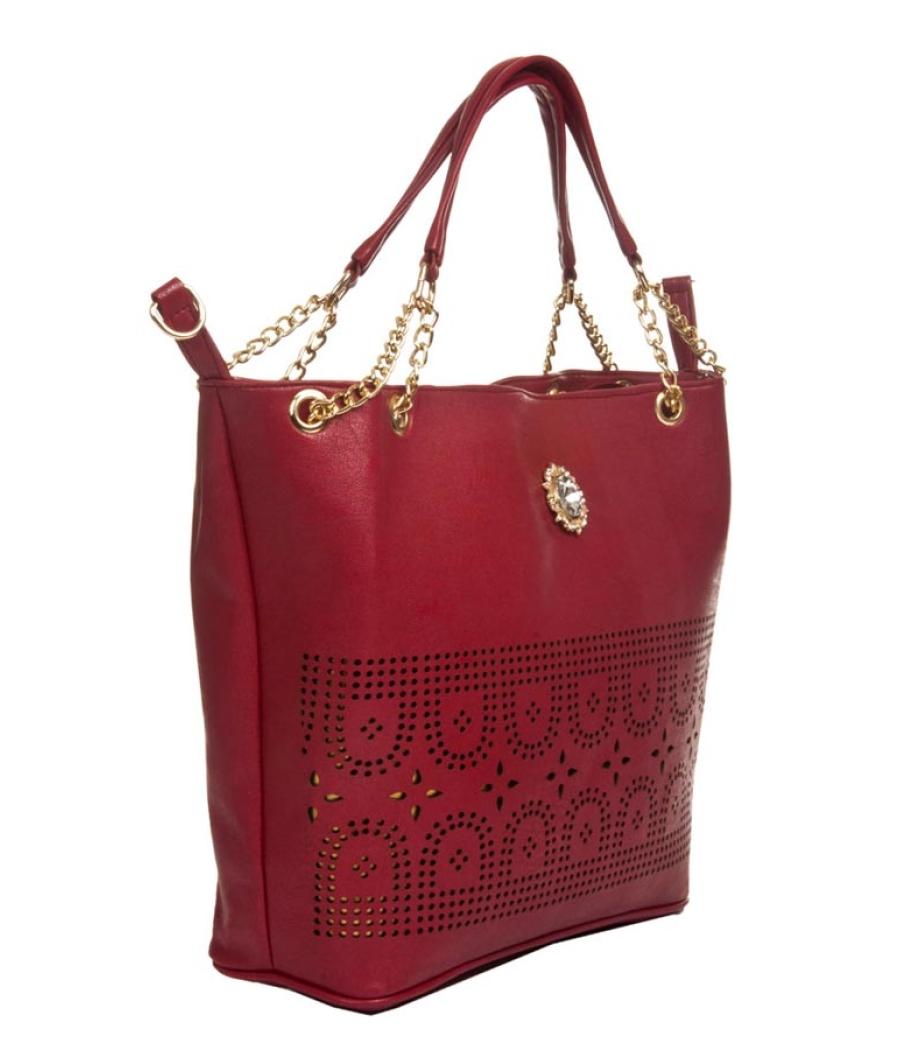 Aliado Faux Leather Solid Magenta Zipper Closure Tote Bag