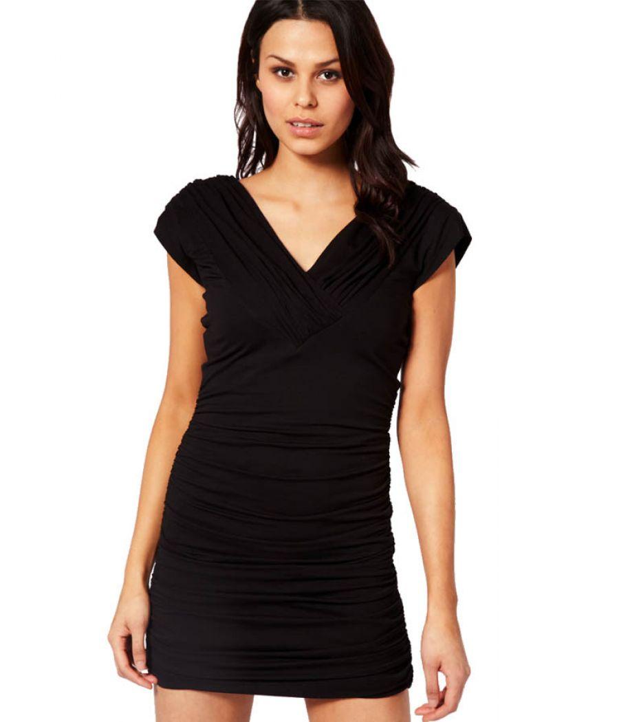 Rare Black Ruched Mini Dress