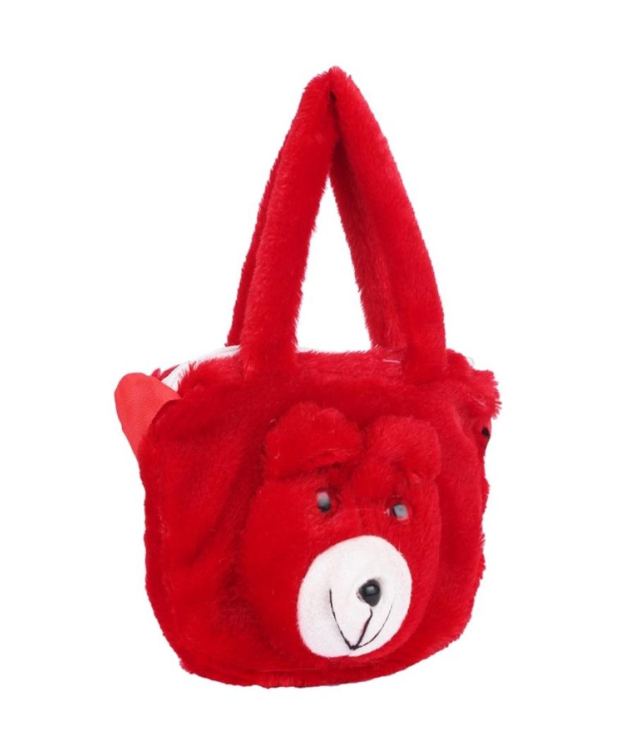 Envie Faux Fur Red    Coloured Zipper Closure Sling Bag