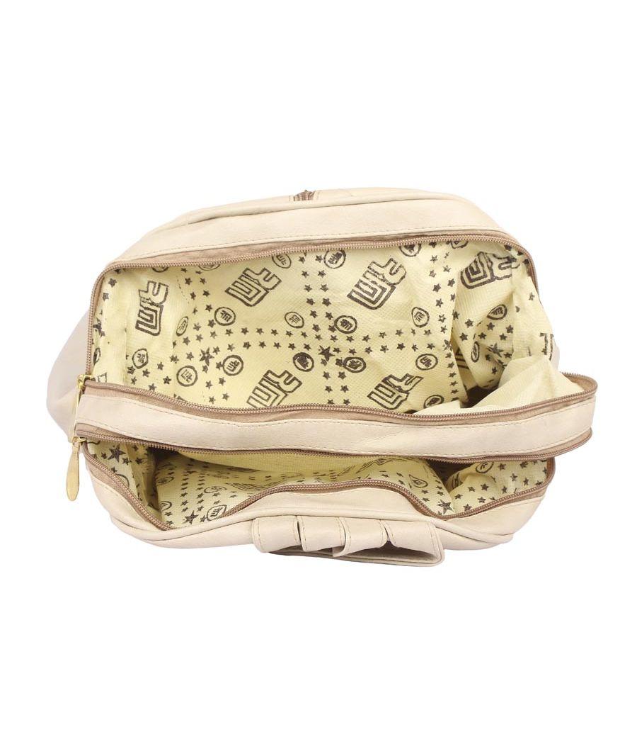 Aliado Faux Leather Beige Coloured Zipper Closure Backpack
