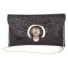 Envie Faux Leather Sequined Black  Magnetic Snap  Closure Crossbody Bag