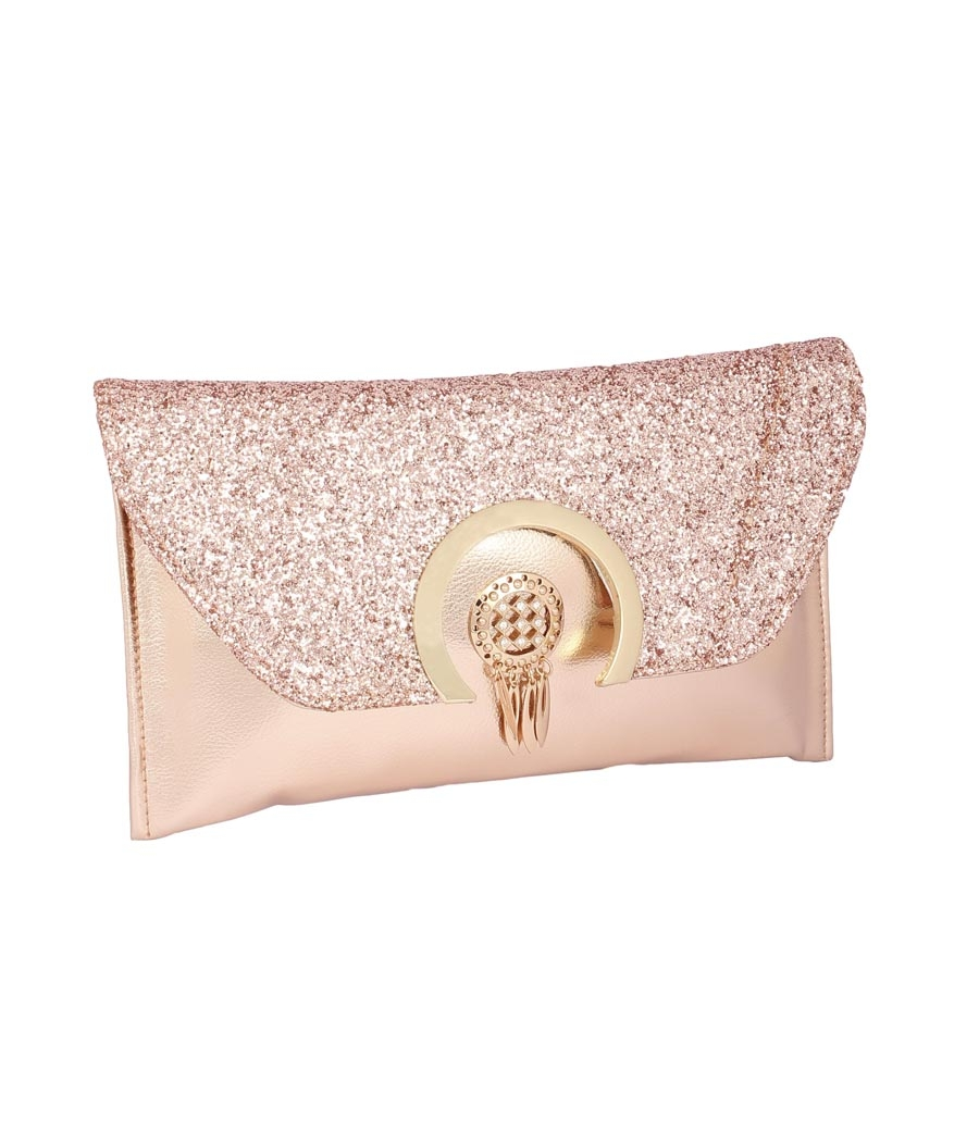 Envie Faux Leather Embellished Bronze Magnetic Snap Closure Crossbody Bag