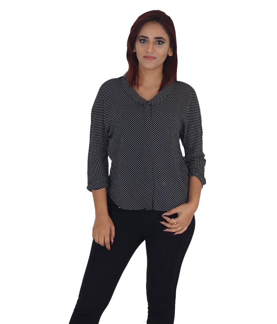 ES Print Cotton Geometric Polka Dots Black Button Closure Full Sleeves Casual Shirt