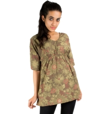 Green/Multi Tropical Floral Top