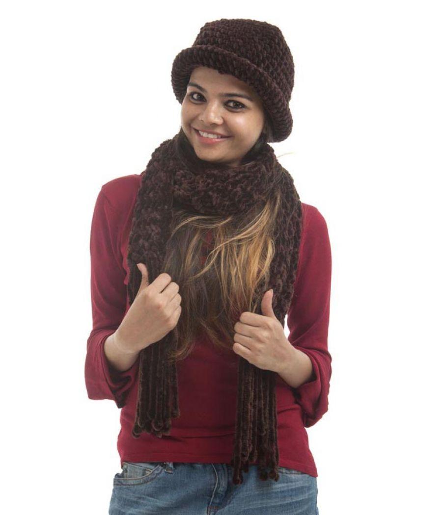 Etashee Certified Wool Self Design Brown Coloured Muffler And Hat
