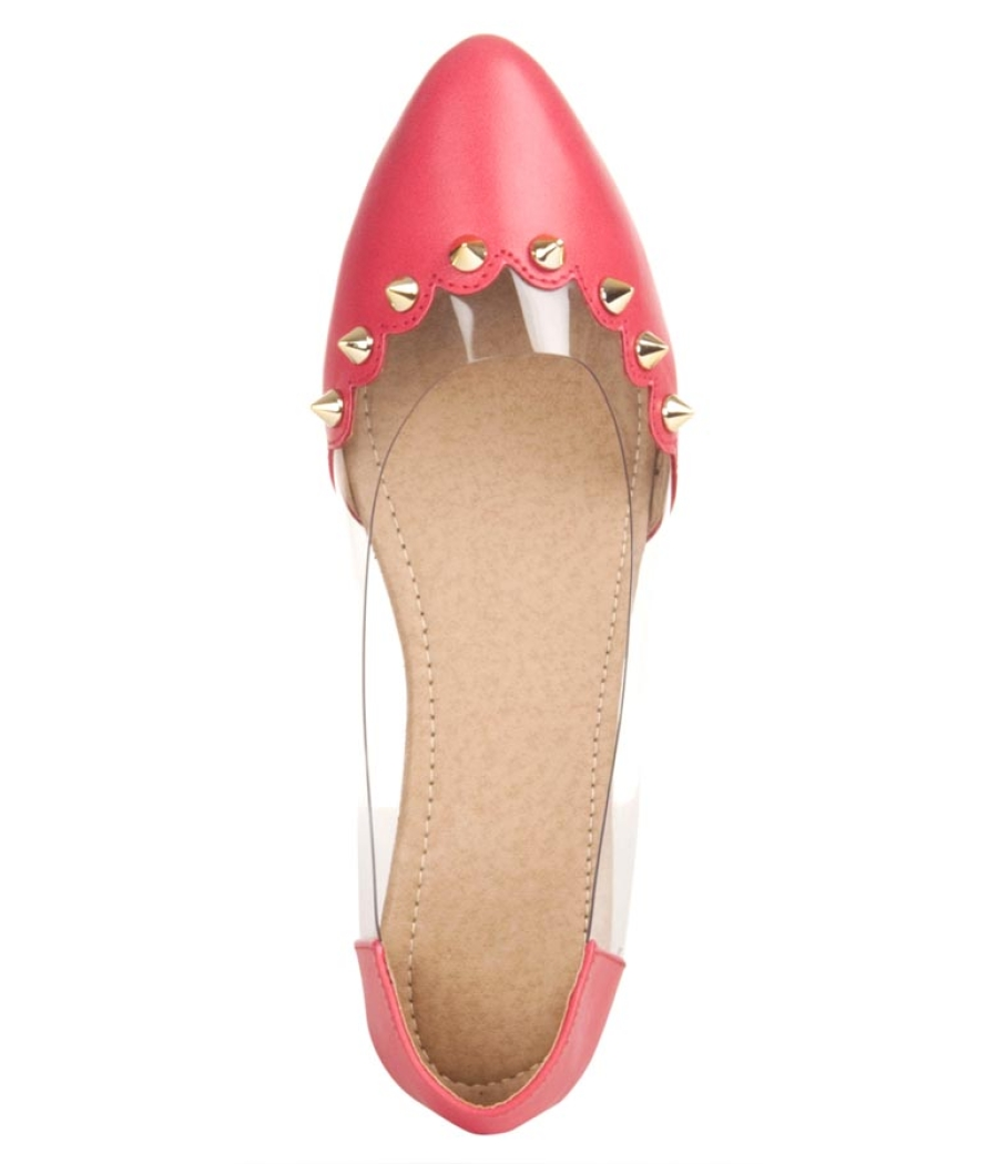 MCS Synthetic Leather Pink Broad Toe Casual Flats for Women