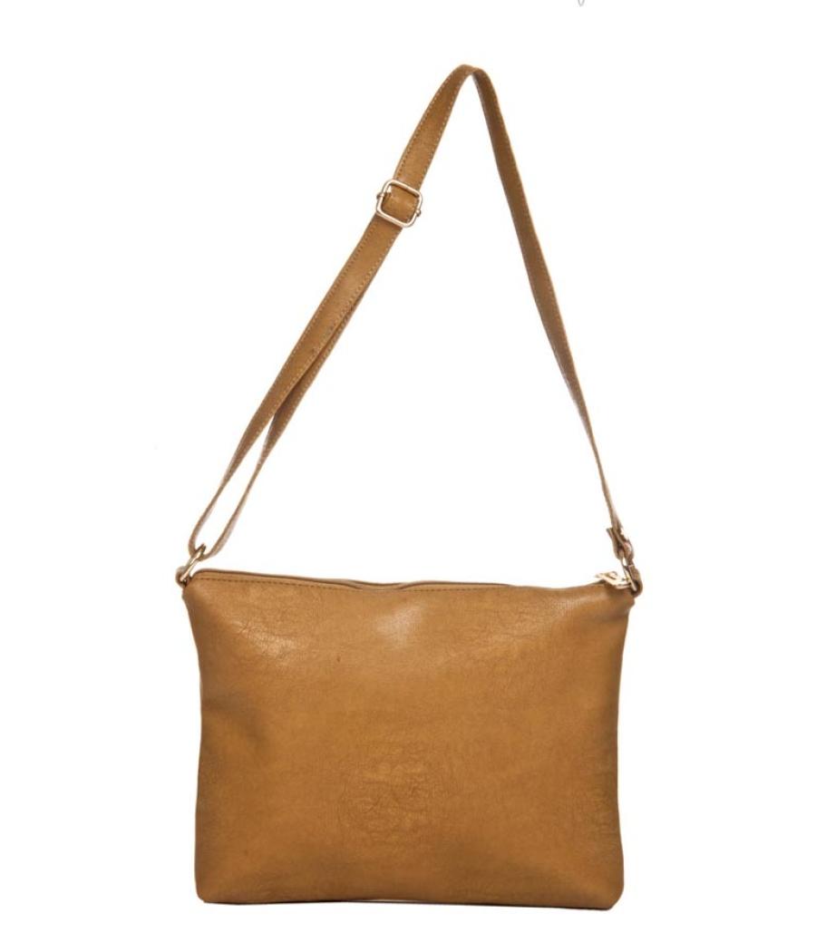 Aliado Faux Leather Solid Beige Zipper Closure Handbag