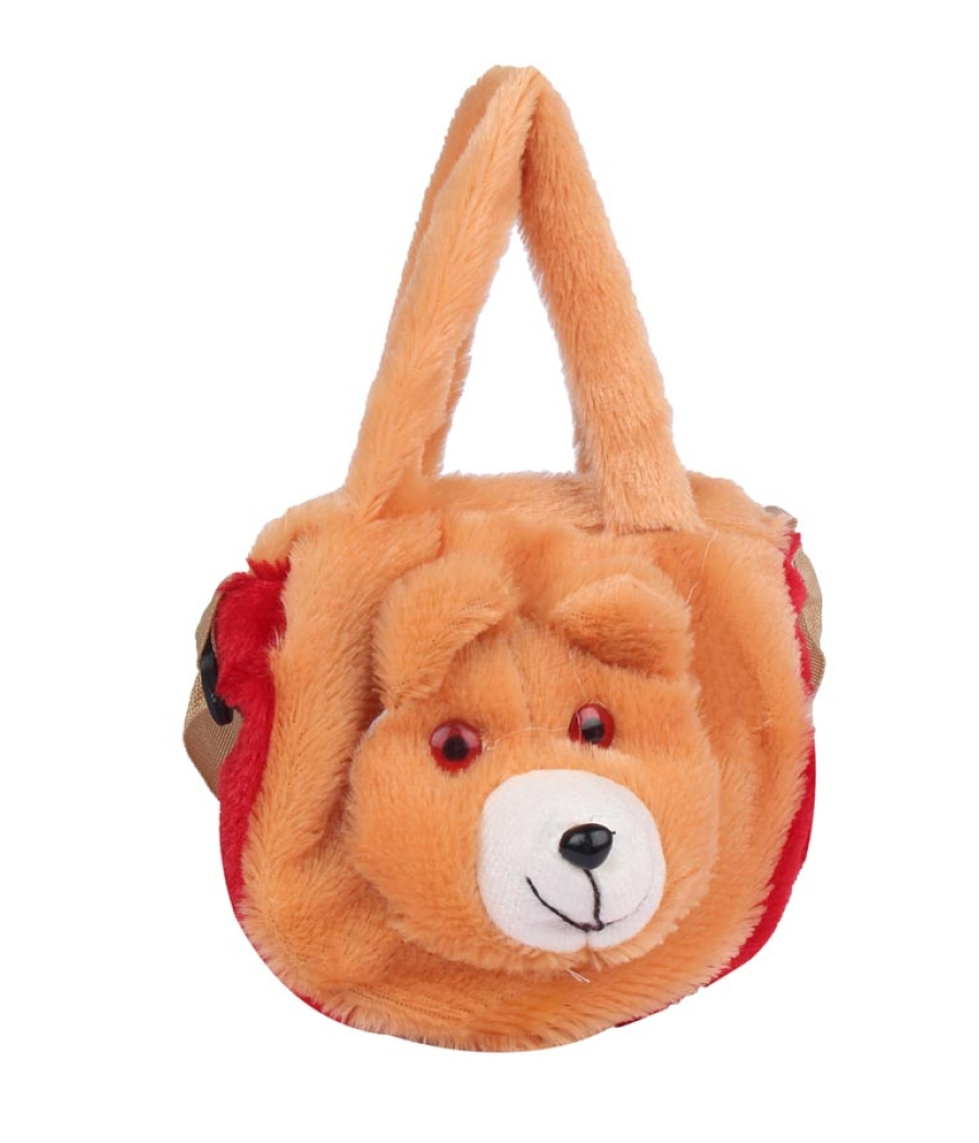 Envie Faux Fur Brown    Coloured Zipper Closure Sling Bag