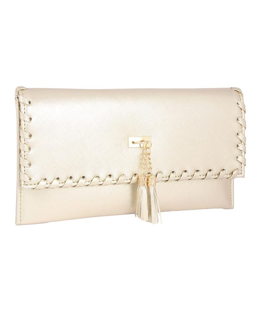 Envie Faux Leather Embellished Golden Magnetic Snap Closure Crossbody Bag