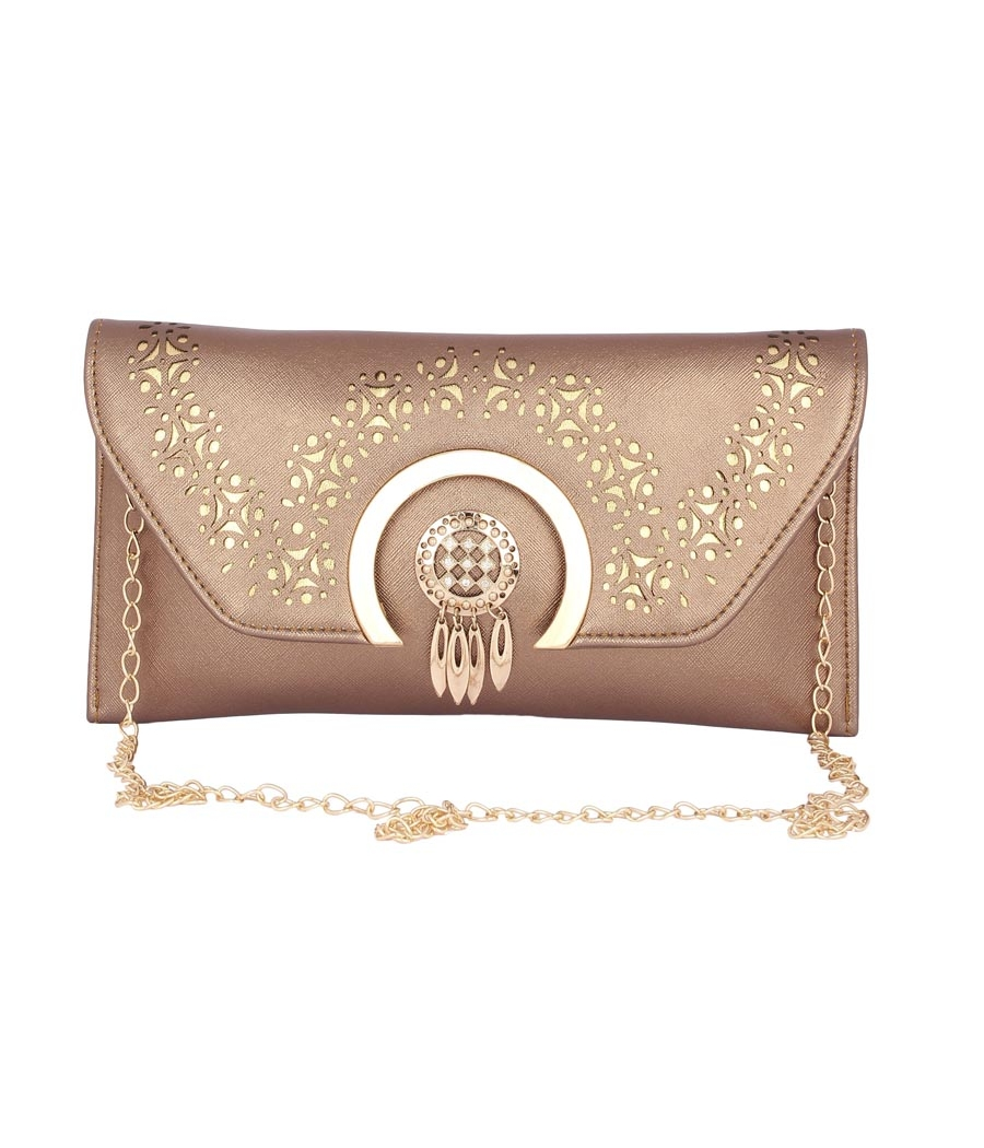 Envie Faux Leather Embellished Copper Magnetic Snap          Closure Crossbody Bag