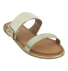 Estatos Shiny Leather Open Toe Twin Strap Golden Party Wear Comfortable Flats for Women