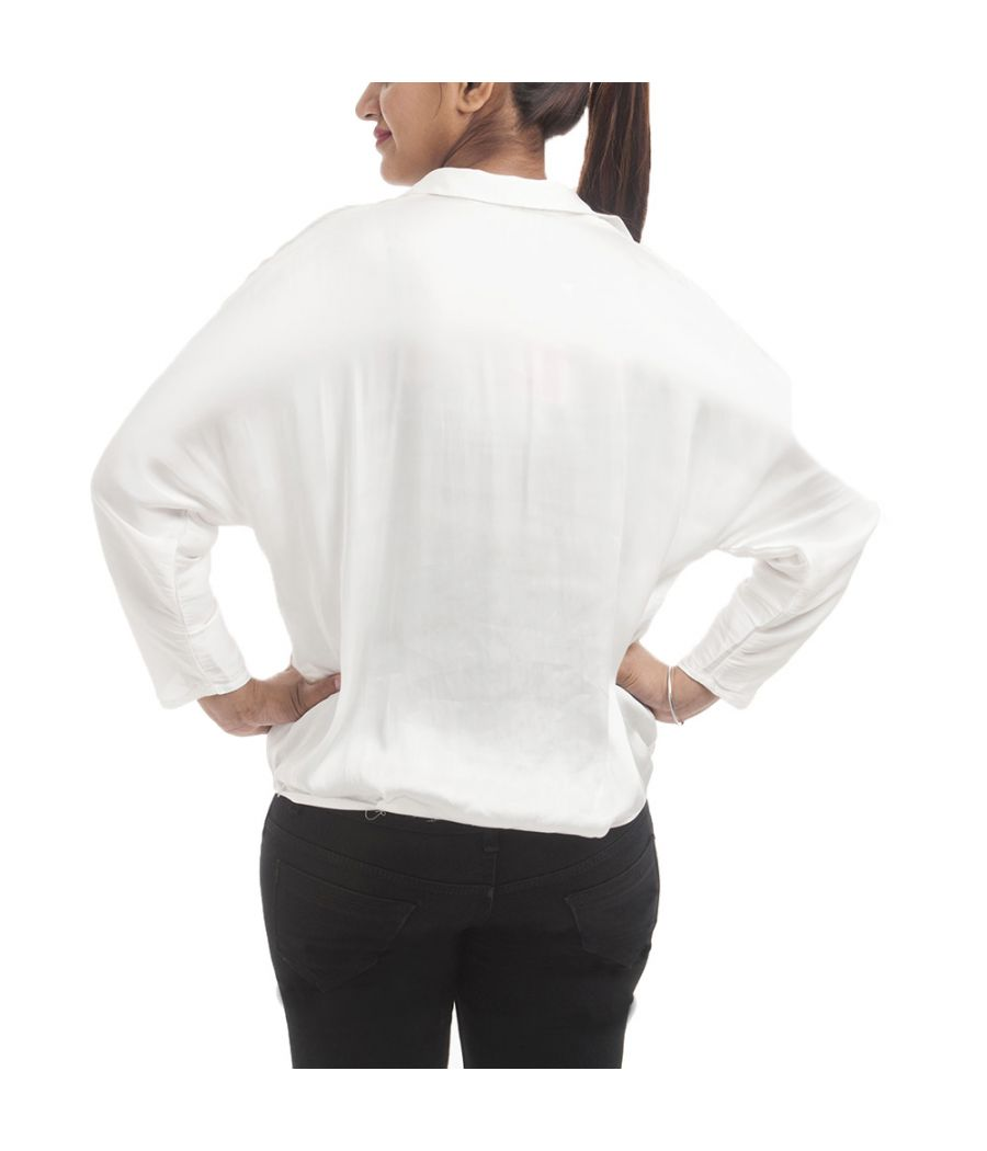 Zara Basic Polyester Solid White Collared Neck Crossover Style Casual Top
