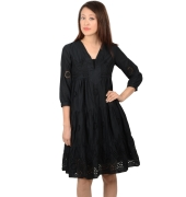 Black Cotton Skater Dress