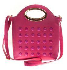 Envie Faux Leather Pink   Coloured Zipper Closure Embellished Sling Bag