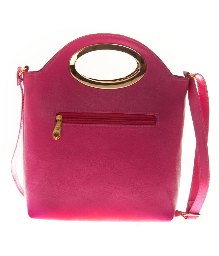 Envie Faux Leather Pink   Coloured Zipper Closure Embellished Sling Bag