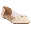MCS Synthetic Leather Cream Coloured Broad Toe Casual Flats for Women