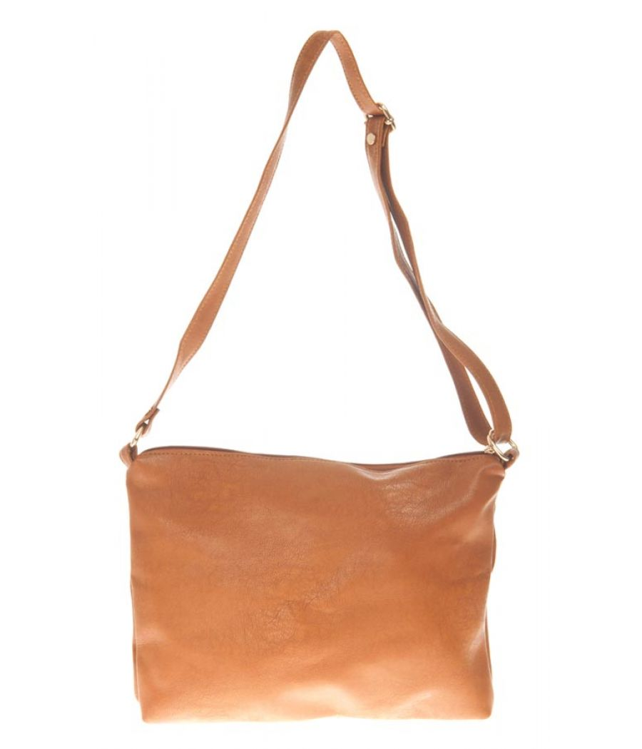 Aliado Faux Leather Solid Brown Zipper Closure Tote Bag