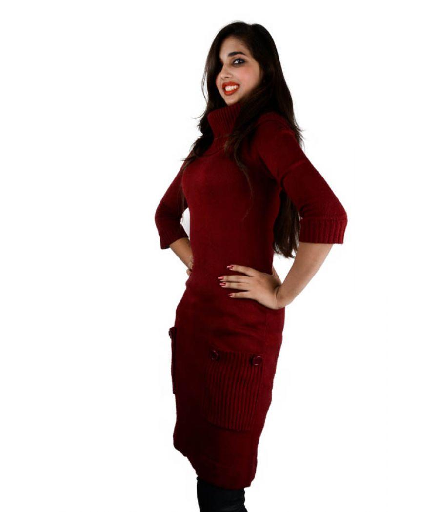 London Times Maroon Jumper Dress