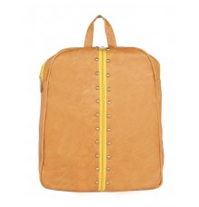 Aliado Faux Leather Mustard Coloured Zipper Closure Backpack