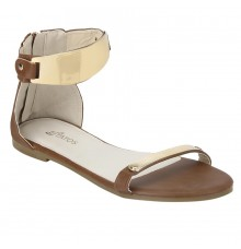 Estatos Faux Leather Open Toe Ankle Strap Metal Decorated Zip Closure  Brown Flat Sandals for Women