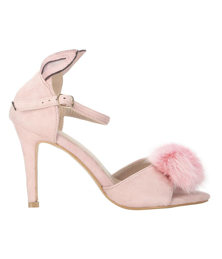 Estatos Suede Pink  Buckle Closure Peep Toe Ankle Strap Stilettos