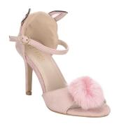 Estatos Suede Pink  Buckle Closure Peep Toe Ankle Strap Stilettos