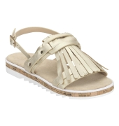 Estatos Leather Golden Buckle Closure Twin Strap Open Toe Flat Sandals