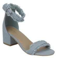 Estatos Denim Blue Buckle Closure Ankle Strap Open Toe Block Heel Sandals