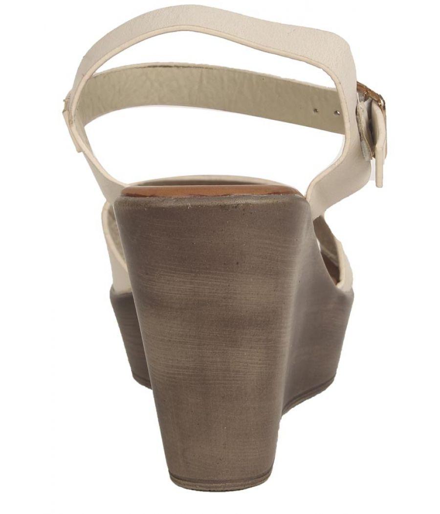 Estatos PU Beige Buckle Closure Ankle Strap Open Toe Wedges