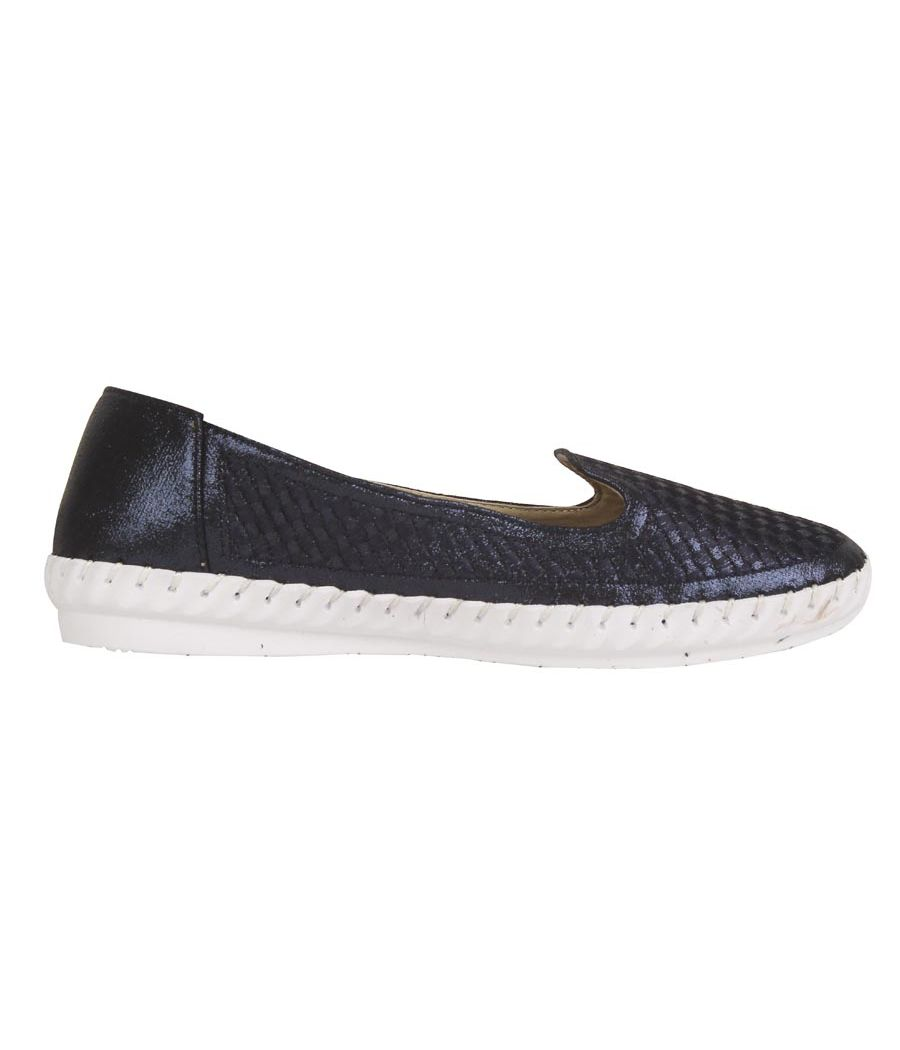 Estatos PU Navy Blue Broad Toe Flat Casual Loafers