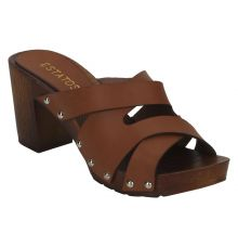 Estatos Brown Multi Strap Open Toe Block Heels