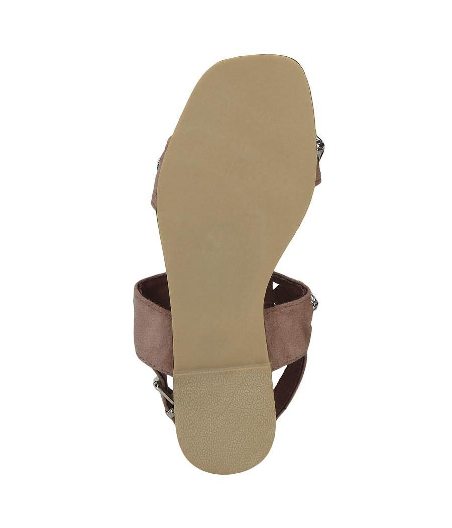 Estatos Suede Nude  Buckle Closure Twin Strap Open Toe Flat Sandals