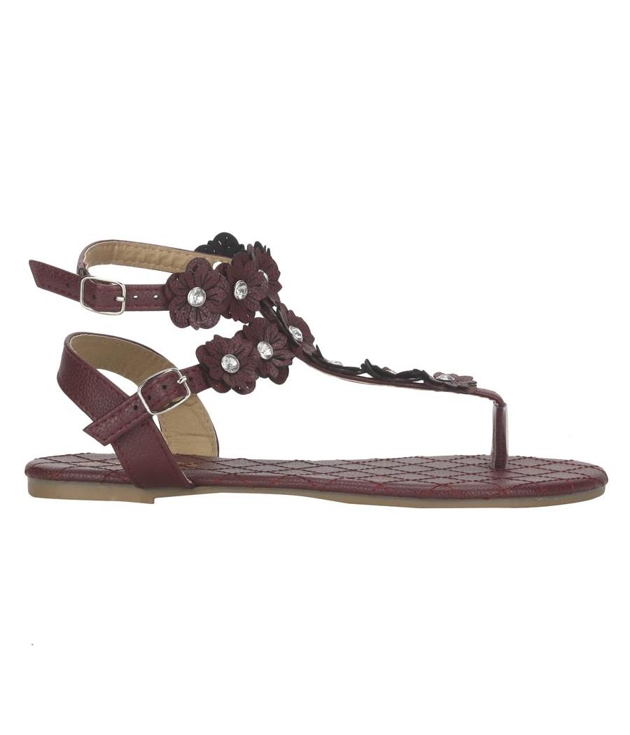 Estatos Maroon  Buckle Closure Ankle Strap Open Toe Casual Flat Sandals
