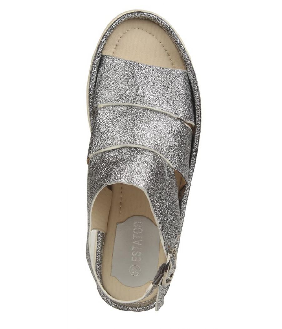 Estatos PU Silver Coloured Buckle  Closure Multi Strap Platform Sandal
