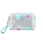 Aliado PVC transparent Zipper with turquoise and purple embroidery cosmetic bag/pouch